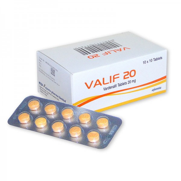 Box and blister strip of generic Vardenafil HCl 20mg Tablets