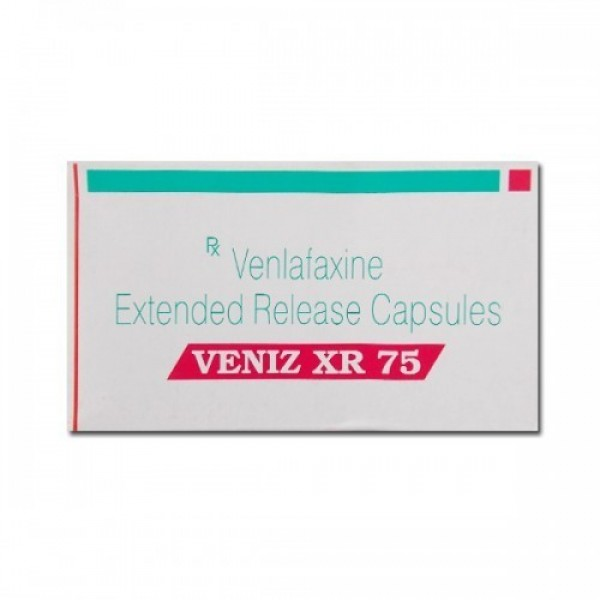 A box of generic Venlafaxine Hydrochloride XR 75mg capsules