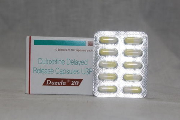 A box and a blister of generic Duloxetine Hcl 20mg capsule