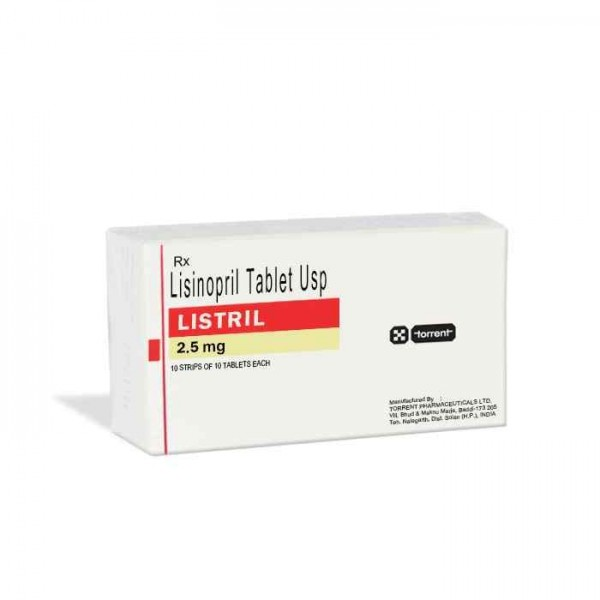 Box of generic Lisinopril 2.5mg tablet